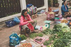 A local Laotian Hill tribe Woman sells vegetables at the daily morning market in Luang Prabang, Laos on the 13th NOVEMBER, 2017. LUANG PRABANG, LAOS - NOVEMBER royalty free stock image