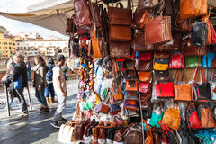 Local leather bags on street shop in Florence Stock Image