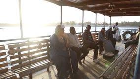 Local man on ferry boat. DARAW, EGYPT - 06 FEBRUARY 2016: Local man on ferry boat stock video