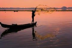 Local man fishing with a net, Amarapura, Myanmar Royalty Free Stock Image