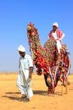 Local man riding a camel at Desert Festival, Jaisalmer, India Royalty Free Stock Photos