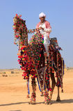 Local man riding a camel at Desert Festival, Jaisalmer, India Stock Photo