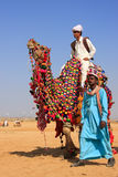 Local man riding a camel at Desert Festival, Jaisalmer, India Stock Image