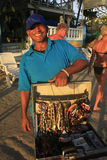 Local man selling jewelry at Boca Chica beach Royalty Free Stock Photos