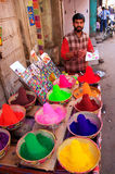 Local man selling paint in the street, Pushkar, India Royalty Free Stock Photo