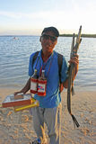 Local man selling souvenirs at Boca Chica beach Royalty Free Stock Image