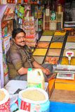 Local man selling spices at the street market in Fatehpur Sikri, Royalty Free Stock Image