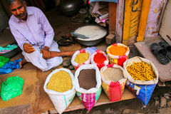Local man selling spices at the street market in Fatehpur Sikri, Stock Photos