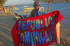 Local man selling towels at Boca Chica beach Stock Photography
