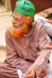 Local man sitting at the street market in Fatehpur Sikri, Uttar Royalty Free Stock Photography