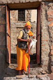 Local man walking to Galta Temple in Jaipur, Rajasthan, India Stock Photo