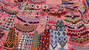 Local Market And Colored Beads Necklace. Colorful of beads necklace handmade on stree shop India folk style. India Royalty Free Stock Photography