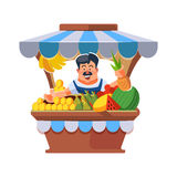 Local market farmer selling vegetables. Vector illustration in flat style of farmer selling vegetables in local market. illustration isolated on white Stock Photos