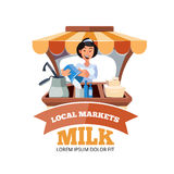 Local market farmer selling vegetables. Vector illustration in flat style of farmer selling milk products in local market. illustration isolated on white Stock Photos