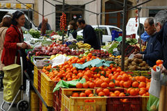 Local market of fruits and vegetables Stock Photos