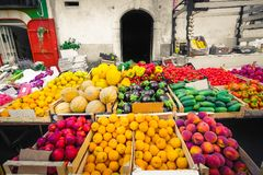 Local market greengrocery food miles fruits and vegetable shelve Royalty Free Stock Images