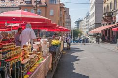 Local market with honey in dowtown Zagreb stock photo