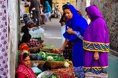 The local market in Jaipur, India. Locals shopping at the local market in Jaipur, India stock image
