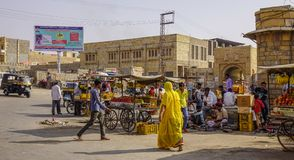 Local market in Jaisalmer, India stock photo