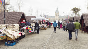 Local market of miscelanious items in Stefan cel Mare boulevard of Iasi city, Romania. Palace of Royalty Free Stock Photography