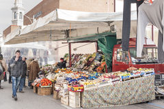 Local market outdoor in Nord Est of Italy. Royalty Free Stock Photo