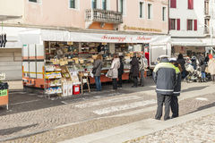 Local market outdoor in Nord Est of Italy. Royalty Free Stock Images