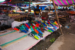 Local market in the Philippines. Closeout colorful flip flops, flip flops. Royalty Free Stock Photo