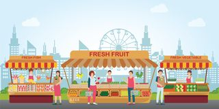 Local market place with fresh foods stock illustration