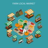 Local Market Round Composition. Farm local market isometric composition with images of stall tents and boxes filled with vegetables vector illustration vector illustration