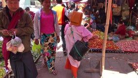 Local market in Yangon, Myanmar stock footage