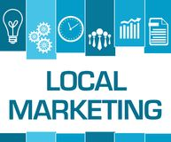 Local Marketing Blue Stripes Symbols. Local marketing text written over blue background with related symbols Royalty Free Stock Image