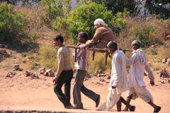 Local men carrying old woman at Ranthambore Fort, India Stock Images