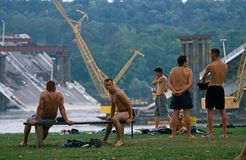Local men by the Danube river, Serbia. Stock Photos