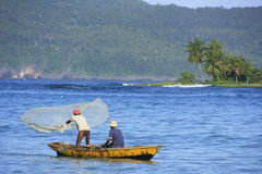 Local men fishing near Las Galeras, Samana peninsula Stock Photo