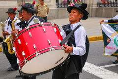 Local men playing drums during Festival of the Virgin de la Cand Stock Photos