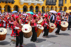 Local men playing drums during Festival of the Virgin de la Cand Royalty Free Stock Photography