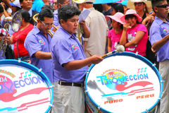 Local men playing drums during Festival of the Virgin de la Cand Stock Images