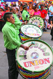 Local men playing drums during Festival of the Virgin de la Cand Stock Photography