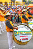 Local men playing drums during Festival of the Virgin de la Cand Royalty Free Stock Image