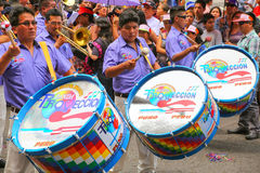 Local men playing drums during Festival of the Virgin de la Cand Stock Image
