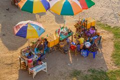Local merchants waiting for tourists at Bupaya - Bagan Royalty Free Stock Photos