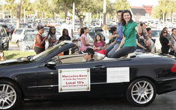 Local Miami, FL news anchors in the holiday parade Stock Photography