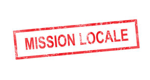 Local mission in French translation in red rectangular stamp Royalty Free Stock Image