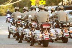 Local Motorcycle Cops Ride Through Town At Georgia Festival Royalty Free Stock Photos