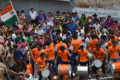 Local musical band performs on Rathyatra, Ahmedabad Stock Photography