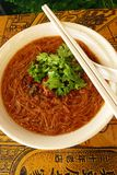 Taiwanese street food - rice vermicelli with oyste. Local name: Oyster Mee Sua, a very popular street fare in Taiwan.  Delicious noodles of thin rice vermicelli Stock Photo