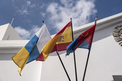 Local and National Flags Lanzarote Spain Stock Images