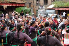 Local Nepali people are having dance festivals around Bhaktapur royalty free stock photo