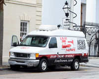 Local news station satellite truck, Charleston, South Carolina Royalty Free Stock Images