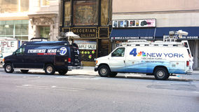 Local News Vans Stock Photo